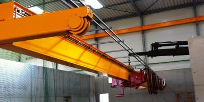 3.2 tonne single girder grab overhead crane for AxpoKompogas